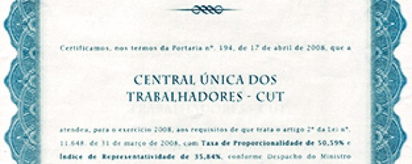 Reconhecimento das centrais sindicais